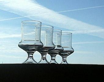 Denby Flare 1970's Vintage Swedish Modern Mod Barware Leaded Crystal  Set of 4 Wine Glasses