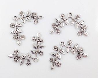 Antiqued Silver Flower, Flower Spray, Brass Flower, Headpiece Supply, Brass Leaves, Brass Stamping, 35mm x 22mm - 4 pcs. (sl320)