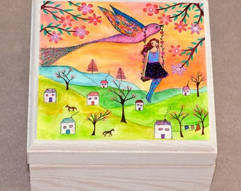 Jewelry Box, Trinket Box, Girl and Bird Jewelry Box