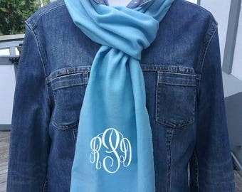 Baby Blue Winter Scarf with Monogram, monogrammed scarf