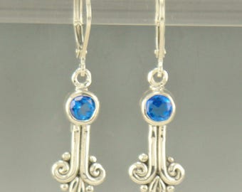 ER580- Sterling Silver Ice Blue Topaz Earrings- One of a Kind