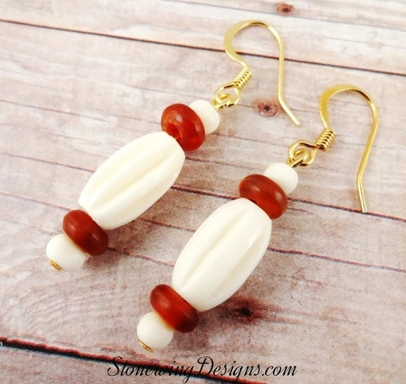 Bohemian Earrings In Bone and Horn