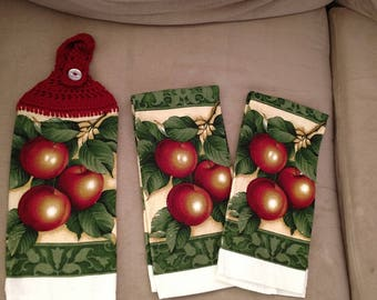 Handmade Apples Crocheted Hanging Kitchen Towel Set/Crocheted Apples Kitchen Towel Set/Apple Decor/Ready to Ship Towel