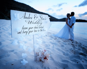Beach Wedding Sign STENCIL - CUSTOM Leave Your Shoes Behind - 5 Sizes- Create your own Beach Wedding Signs!