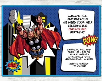 Thor Invitation, Thor Party, Thor Printable Birthday Invitation