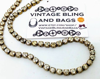 1950s 38cm vintage rhinestone necklace, vintage necklace, clear rhinestone necklace, vintage wedding necklace minimalist rhinestone necklace