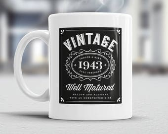 75th Birthday, 1943 Birthday, 75th Birthday Gift, 75th Birthday Idea, Vintage 'Bourbon', Happy Birthday, 75th Birthday, for the 75 year old