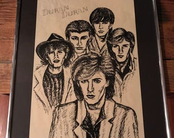 Vintage 1981 Duran Duran Pop Art Sketch Picture