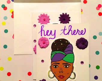African American Greeting Cards-Blank Cards-Thank You-Thinking of You-Black Art-Natural Hair Set of 4