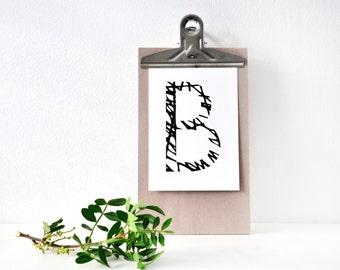 Buchstabe B, Postkarte, schwarz weiß, Illustration, Zeichnung, Geschenk, Deko, Dekoration, Grußkarte, Papier, Karte, Typographie