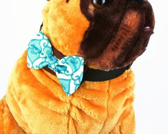 Bow Tie, Dog Bow Tie, Pet Neckwear, Dog Accessories, AnnabelsAccessories, Pet Accessories, Pet Neck Tie, Dog Clothes, Turquoise and Cream