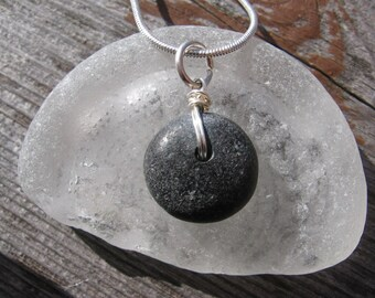 Sweet and simple drilled Lake Superior Basalt Zen Stone Pendant Necklace