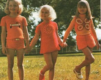crochet pattern, girls dress motif, shorts, top, waistcoat, hippie retro crochet, instant download, PDF