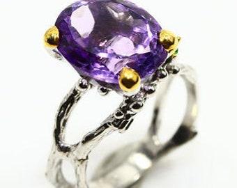 Natural Amethyst 925 Sterling Silver & 14K Gold Ring Size 7.5 - Fine Art Ring - Handmade Ring Amethyst ring size 7 8 Elegant Ring
