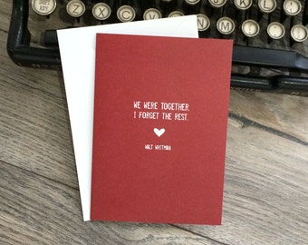 Walt Whitman Literary Love Greeting Card Love Quote Greeting Card Typography Card Together Love Anniversary Wedding Card Valentines Day