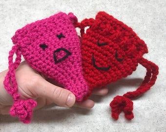 Uterus Drawstring Pouch + Planned Parenthood Donation (w/ 2 emoji faces)