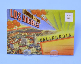 Curt Teich Wonderful Los Angeles 1940 Postcards Art Deco Postcard Book Unused As New Condition Vintage Graphic Art