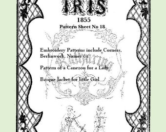 Iris Fashion Pattern 1855, No 18,  full size reprint