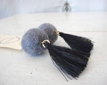 Cool Wool Pop Earrings, Grey and Black, Tassels and Felted Wool Beads, on 18K Gold Fill Earrings