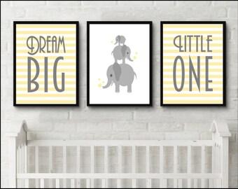Dream Big Little One Print Elephant Prints, New Baby Print. Nursery Artwork. Inspirational children's art print. Birthday gift idea