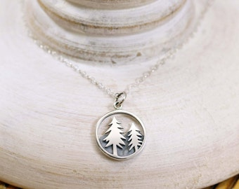 Pine Tree Necklace, Sterling Silver Pine Tree Necklace, Nature Necklace, Tree and Mountain Necklace, Fir Tree Necklace, Hiking Necklace
