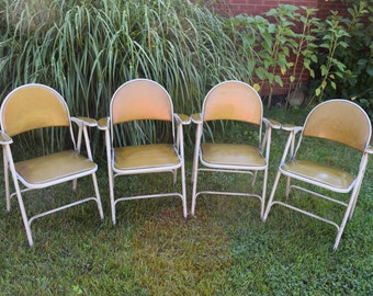 Samson Folding chairs Set of four, Yellow Folding Chair, Chairs, Vintage