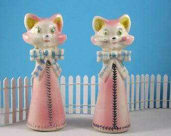 Pink Cat Salt and Pepper Shakers Vintage Japan