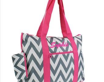 Personalized Hot Pink Straps Grey/White Chevron Gift Teacher Bag Weekender Tote Diaper Bag Scrapbooking Gift Sister Personalized Monogram