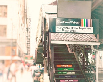 CTA Train Stops, Adams Wabash Loop Train, Chicago Photography for Walls, orange, purple, green, brown line trains, Urban Wall Art Prints