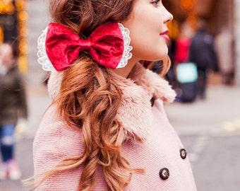 Red Velvet Hair Bow Clip, Velvet Bow, Red Hair Clip, Christmas Red Bow Hair Accessory
