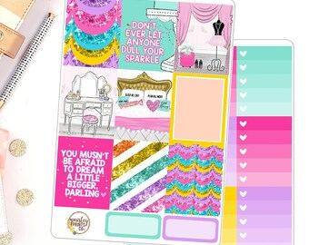 Don't Let Anyone Dull Your Sparkle Weekly Planner Stickers Kit for use in Erin Condren
