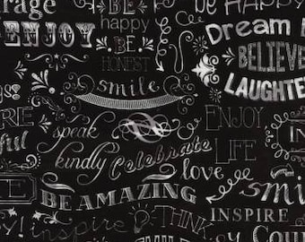 Chalkboard lettering Black. Patchwork fabric. Fabric of reworks. Cotton fabric. Calligraphy fabric. Lettering fabric. Black Slate. Letter