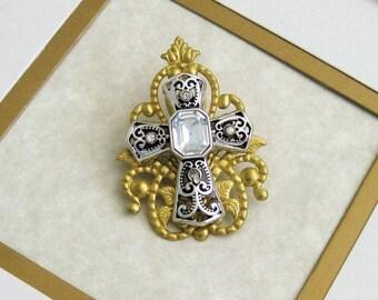 SALE Cross Brooch, Religious Jewelry, Christian Jewelry, Catholic Jewelry, Gold Brooch, Gift For Her, Cross Jewelry, Rhinestone Cross,P-080