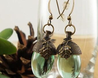 Earrings Green Acorns, with glass (#6815)