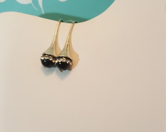 Sterling with black spinel drop earrings