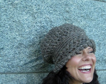 Chunky Hat, Chunky Slouch, Chunky Brim, Fold Up Brim, Barley, Tan, Fashion, Versatile, Brim, Slouch, Hat, Chunky, Winter, Fall, Warm