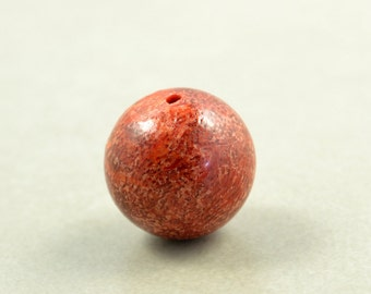 Oxblood Sponge Coral Bead, 14mm Focal Bead, Red Bead, One