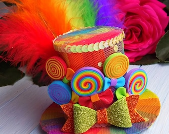 FREE SHIPPING Mini Top Hat Headband Rainbow Mini Top Hat Mad Hatter Hat Tea Party Hat Alice in Wonderland Hat Fascinator Rainbow Mini Hat