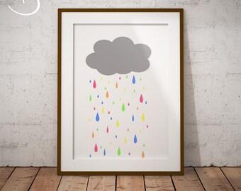 Cute Rain cloud print, Nursery Decor, Printables, Nursery Print, Kids art, Cloud Printable, Little cloud print, Minimalist nursery Print