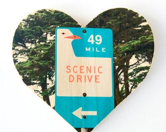 "49 Mile Scenic Drive Sign in San Francisco - 9x8"" Heart Distressed Photo Transfer on Wood"