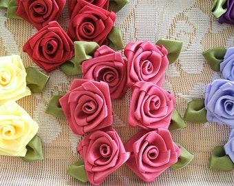 6 -1 inch Dusty Rose~Mauve~Roses, Handmade, Victorian Ribbon Roses, Wedding, Bridal,Quilts, Scrapbooking, Designers,Decor,Trims,Rose