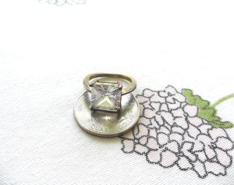 Vintage Fake Engagement Ring Under 10 Dollars Square Engagement Ring Cheap Rings Grunge Ring Fake Diamond Ring  CZ Ring Cubic Zirconia Ring