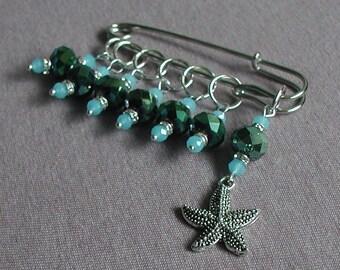 Knitting Stitch Markers Handmade Glass Beads Knitting Accessory Gift Starfish