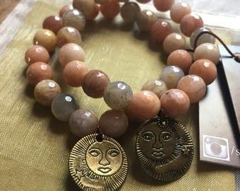 Chunky Sunstone + Sun Goddess   Spiritual Junkies   Yoga + Meditation   Single Stackable Mala Bracelet   10 mm