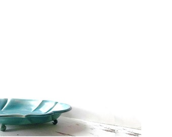 Vintage Candy Dish Teal BLue Distressed Rustic Cottage Chic Decor Vanity Table