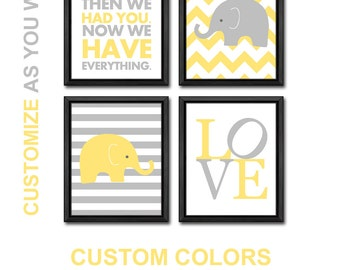 elephant baby shower decorations yellow gray, elephant baby decor, elephant nursery art, elephant baby nursery decor, elephant baby gift