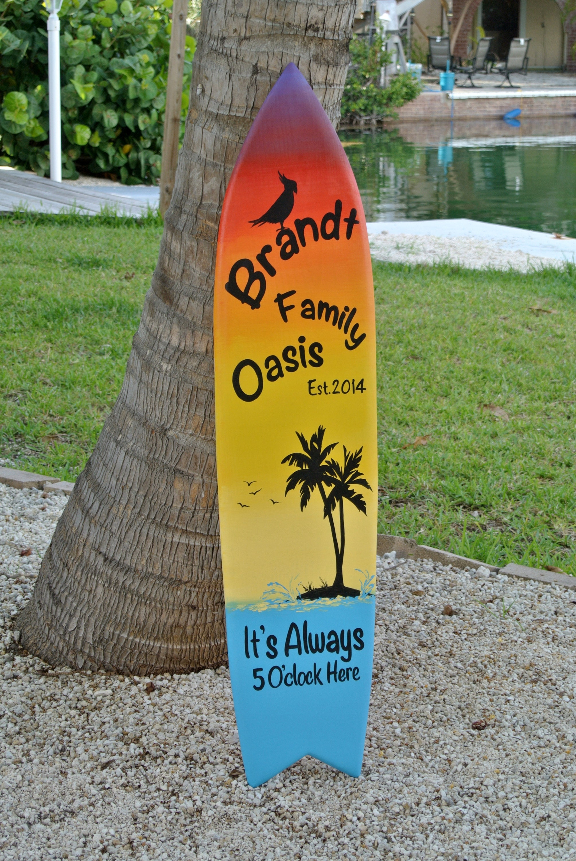 Family Oasis Surfboard sign. Tiki Bar decor. Family New House gift ...