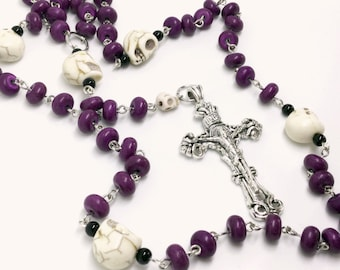 Lutheran Prayer Beads — White Skulls and Purple Stones — 5 Decades