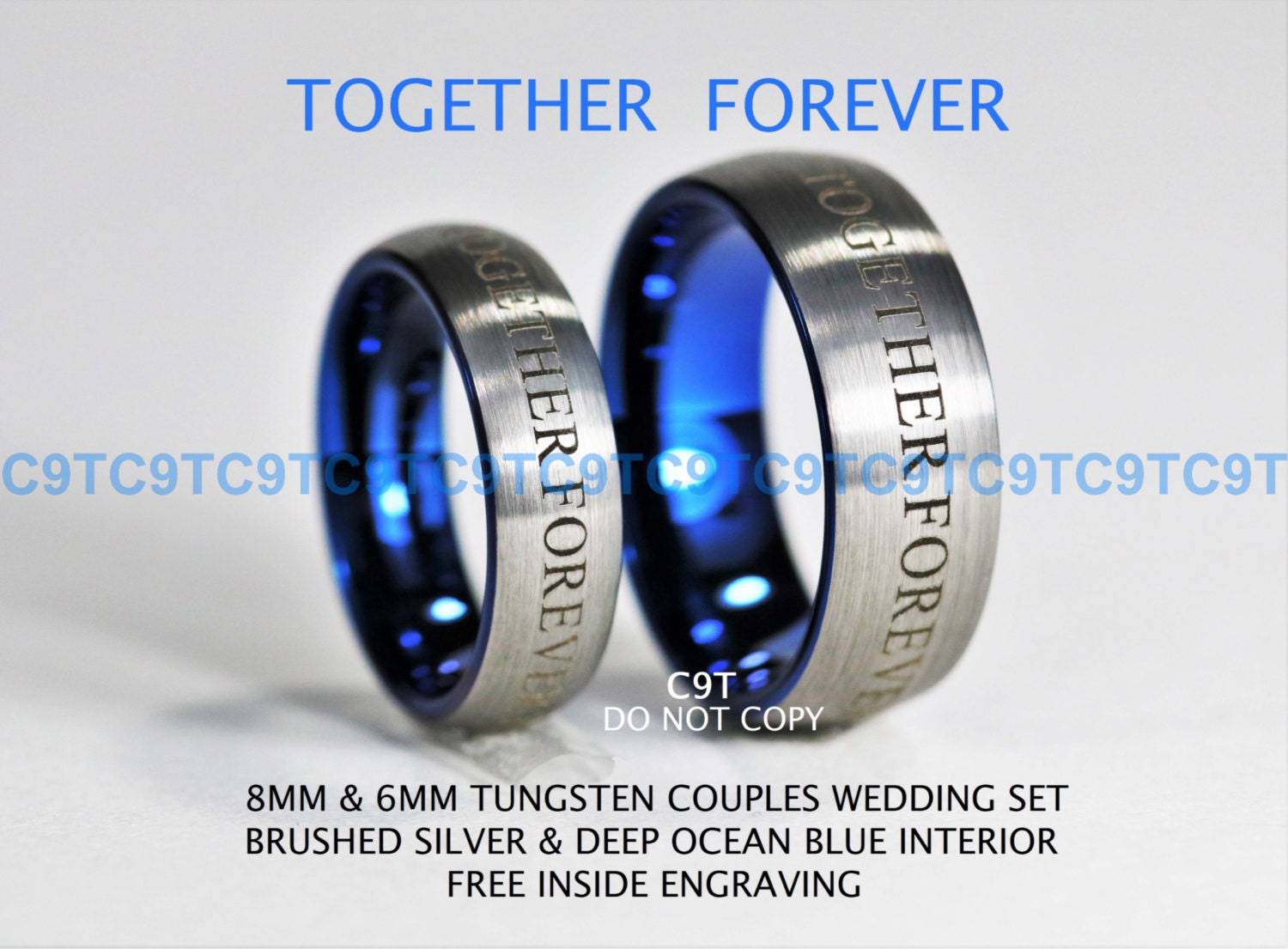 Doctor Who Inspired 6MM 8MM Tungsten Wedding Ring Set