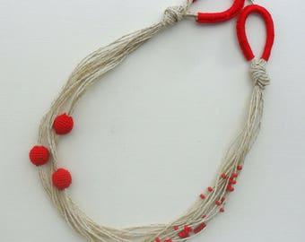 boho neacklace, boho chic,  bohemian, festival jewelry, beaded necklace, eco necklace, eco jewelry, cotton, Christmas gift , crochet
